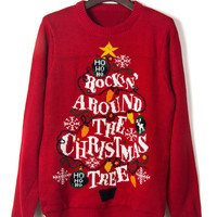 Red Light Decorated Christmas Tree And Letter Jacquard Sweater
