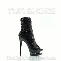 "Blondie R 1008 Sequin Black Open Toe Rhinestone Platform - 6"" High Heel Ankle Boots"