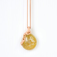 Amber Yellow Drusy Stone Necklace, Yellow Geode Crystal Pendant with Epoxy Clay, Feminine Girl Gift Idea