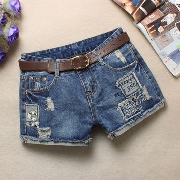 Summer Pants Korean Rinsed Denim Ripped Holes Blue Shorts Jeans [6050444609]