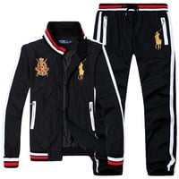 Polo Ralph Lauren new men's casual exquisite embroidery trend outdoor sports jacket set two-piece Black