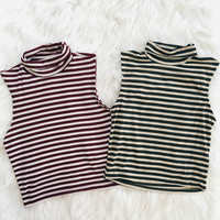 Mollie Striped Mock Neck Tank (Burgundy, Olive)