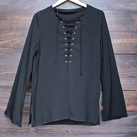 Gypsy Life Oversized Front-Tie Tunic in Black