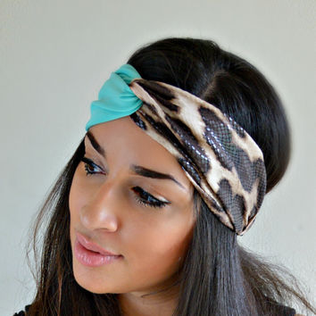 Snake Spotted blue Print Turban headband