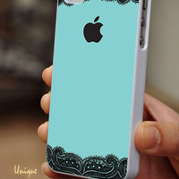Black lace and Teal color - iPhone 4 / iPhone 4S / iPhone 5 / Samsung S2 / Samsung S3 / Samsung S4 Case Cover