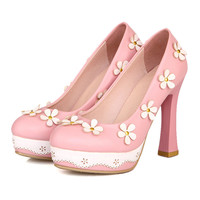 Thick High Heel Platform Flower Splicing Low-cut Round Thin Shoes   pink