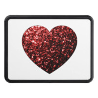 Beautiful Glamour Red Glitter sparkles Heart Trailer Hitch Cover