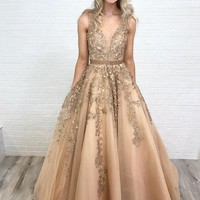 Evening Dress V Neck Champagne Prom Dresses Appliques