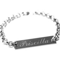 ID Bracelet, Personalized Jewelry, Engraved ID Name Stainless Steel Bracelet, Customize Silver Horizontal Bar Jewelry, For Men or Women