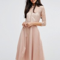 Y.A.S Tall Pretty Skater Dress With Lace Yoke And 3/4 Sleeves at asos.com