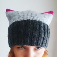 Amaranth and grey pussy cat hat Knitted, pink, pussy power, devil horny hat, horns, winter knitted hat, women's march accessory, pink power