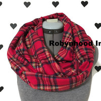 Red Plaid Scarf Plaid infinity scarf Circle scarf Red scarf Tartan scarf Women's scarf Plaid Flannel scarf Warm winter scarf Red Scarf Plaid