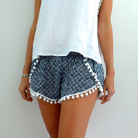 Pom Pom Shorts - Navy & White Daisy Print with White Pom Pom Trim - lightweight chiffon