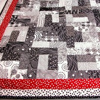 Quilt in Black White and Red Polka Dots for Baby or Lap Handmade