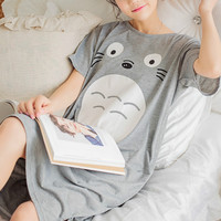 Ms. summer new loose knit short-sleeved pajamas cartoon lovely nightgown tracksuit