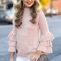 Ruffle Tiered Long Sleeve O Neck Light Pink Pearl Pullover Sweater Sweet Beading High Street Fashion Jumper