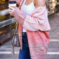 Chunky Knitted Cardigan- Shades of Pink