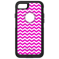 DistinctInk™ OtterBox Commuter Series Case for Apple iPhone or Samsung Galaxy - Hot Pink White Chevron Stripes Wave