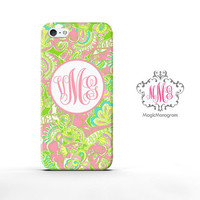 Monogram iPhone 5 Case Elephant Paisley, custom Lilly Pulitzer Inspired monogram iPhone 5C Case, available for iPod Touch 4 iPod 5 case