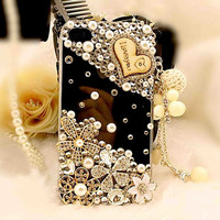 1 PCS  Handmade Bling Crystal iPhone 4G 4S  Back  Case Cover classical flower and heart with black case,307a