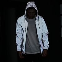 reflective windbreaker hooded jacket