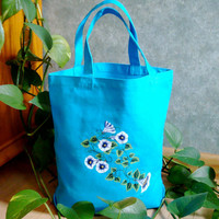Hand Painted Turquoise Tote Bag With White and Blue Flowers