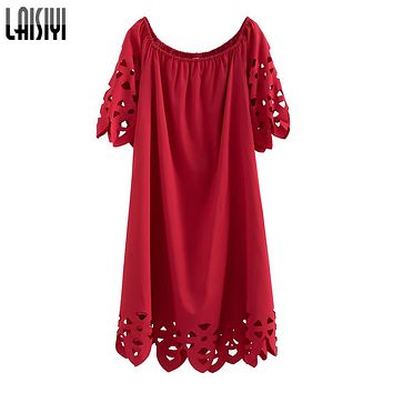 Bohemian Beach Sexy Dress Off Shoulder Slash Neck Hollow Out Elegant Dresses Casual Red Black Vestidos ASDR20856