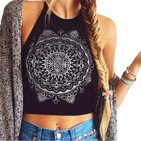 Best Selling Sexy Womens Crop Tops Mandala Print Sleeveless Halterneck Tank Cotton Tops Bustier Bra Cami Shirt Vest Plus Size