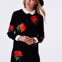 Missguided - Mercy Long Sleeved Collared Shift Dress Black