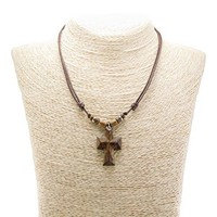 SHIP BY USPS Wood Cross Pendant on Adjustable Corded Necklace with Wood Beads