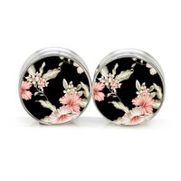 1 pair PAIR Black Floral stainless steel night owl plug tunnels double flare ear plug gauges body piercing jewelry