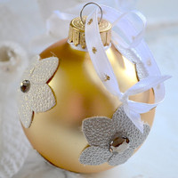 Holiday Ornament, Rustic Ornament, Christmass Ball Ornament, Decorative Ornament, Glass Ball Ornament, Shabby Chic Ornament