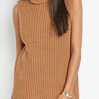 Camel Turtleneck Sleeveless Sweater Vest