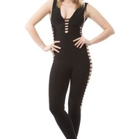 Bandage Jumpsuit with Side Cutouts - Black