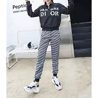 """ DIOR"" Woman's Leisure Fashion Letter Printing Zipper Long Sleeve Trousers Two-Piece Set Casual Wear"