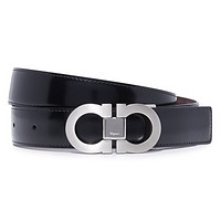 SALVATORE FERRAGAMO Men's Double Gancio Reversible Belt, Silver/Black/Brown, 36
