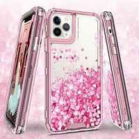 Apple iPhone 11 Pro Case,Hard Clear Glitter Sparkle Flowing Liquid Heavy Duty Shockproof Three Layer Protective Bling Girls Women Cases for Apple iPhone 11 Pro - Pink