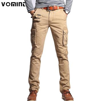 Vomint 2017 New Men Fashion Military Cargo Pants Slim Regualr Straight Fit Cotton Multi Color Camouflage Green Yellow V7A1P015