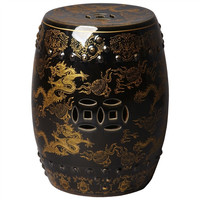 Black Asian Painted Garden Stool