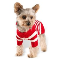 Size #12, Designer Pet Clothes, Red Stripe Dog Hoodie Sweater, Charming Pom Pom, Warm and Cute