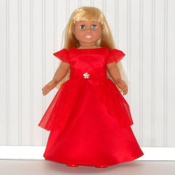 18 inch Girl Doll Red Special Occasion Dress Satin and Tulle Floor Length Gown  American Doll Clothes