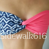 Coral and Navy Chevron Bandeau Top Spandex Bandeau Bikini Swimsuit