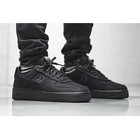 "Stussy x Nike Air Force 1 ""Triple Black"" low-top sneakers shoes"