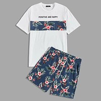 Fashion Casual Men Slogan and Tropical Print Top Shorts Set