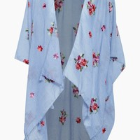Woven Embroidered Kimono Cover Up - Blue Floral Print