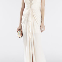 Brown/White BCBG Brandy Sleeveless Lace-Bodice Gown