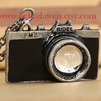 camera necklace, antique silver camera necklace, black camera, vintage camera, SALE