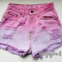Pastel Pink + Lilac Destructed Ombre Shorts