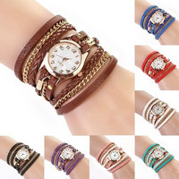 Chic Fashion Women Girl Rhinestone Faux Leather Sling Chain Quartz Wrist Watch = 1706378692