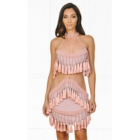 Indie XO Fringe Diva Beaded Pink Sheer Mesh Tassel Fringed Cut Out Mock Neck Bodycon Mini Dress